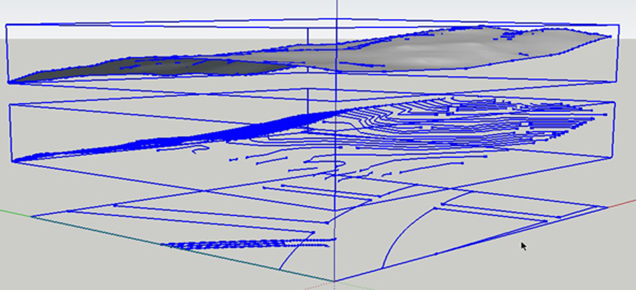 using imported civil dwg parking layouts to drape onto a sandbox topography mesh in sketchup pro